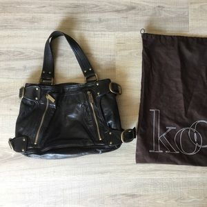 Kooba black leather motorcycle purse